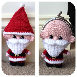 This Santa purse is the perfect way to gift some Christmas pocket money or for filling with sweets! His head is hollow but the body section is stuffed.