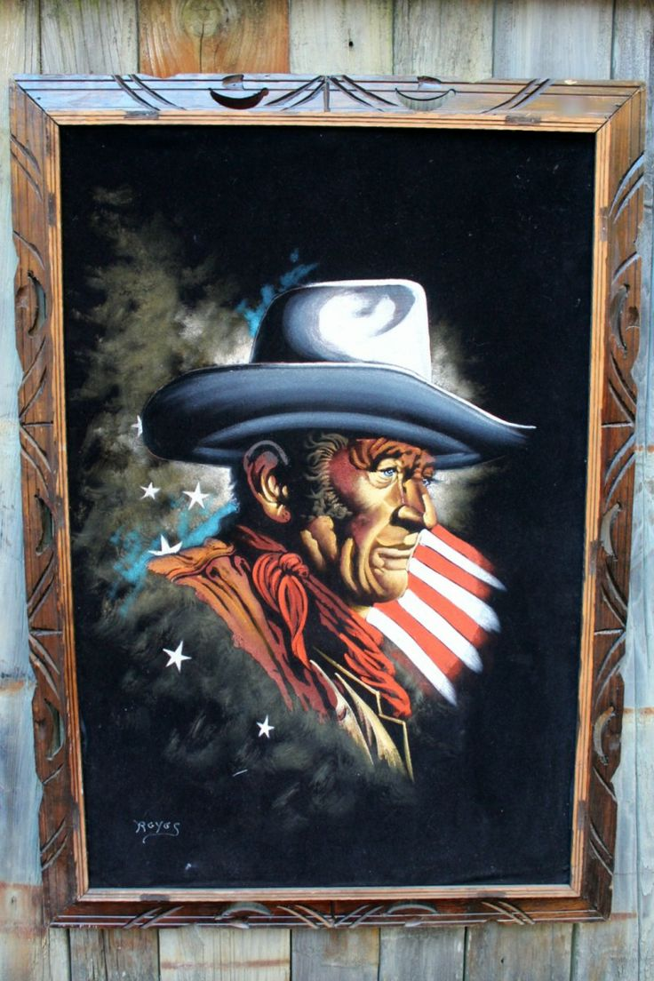 Huge Black Velvet Painting Of John Wayne With American Flag Stars And Stripes Background Sold Pinterest American Flag Stars Stripes And Flags