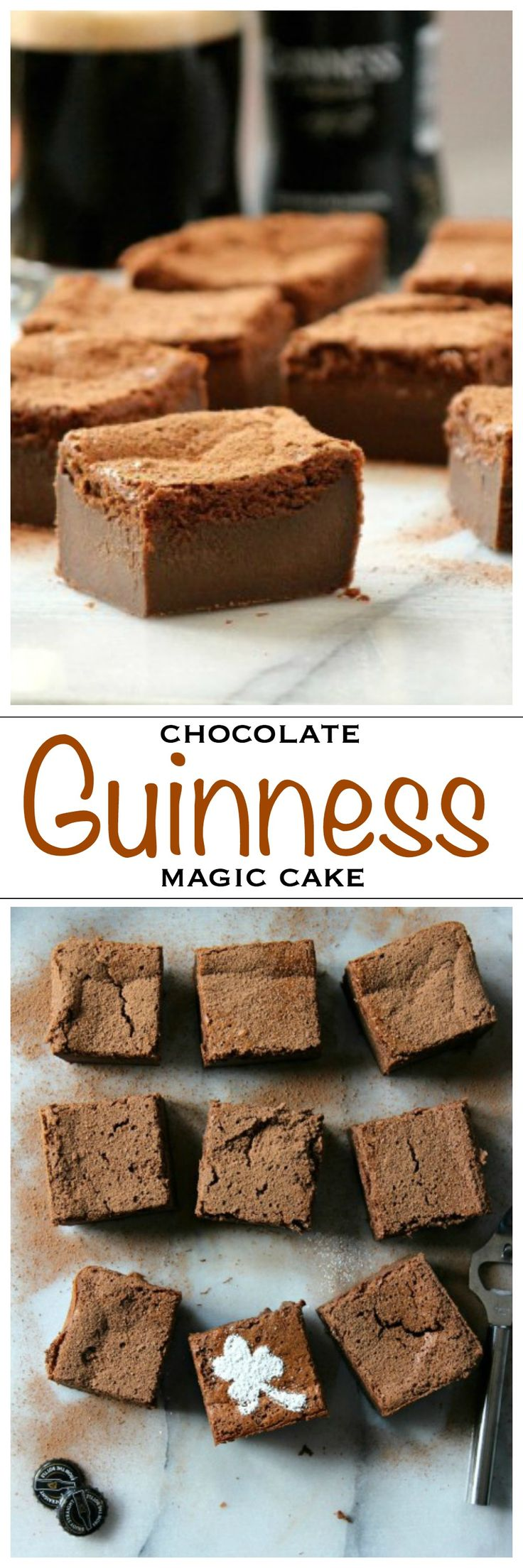 Chocolate magic cake with the famous Irish stout Guinness! Perfect for a St Patrick's Day party   Foodness Gracious