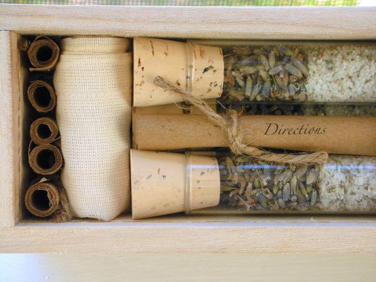 Organic All Natural Thyme Lavender Herbal Bath Salt Test Tubes. (Repose Bath Affirmations) Bridesmaid, Spa, Eco, Luxury Gift Set.. $55.00, via Etsy.