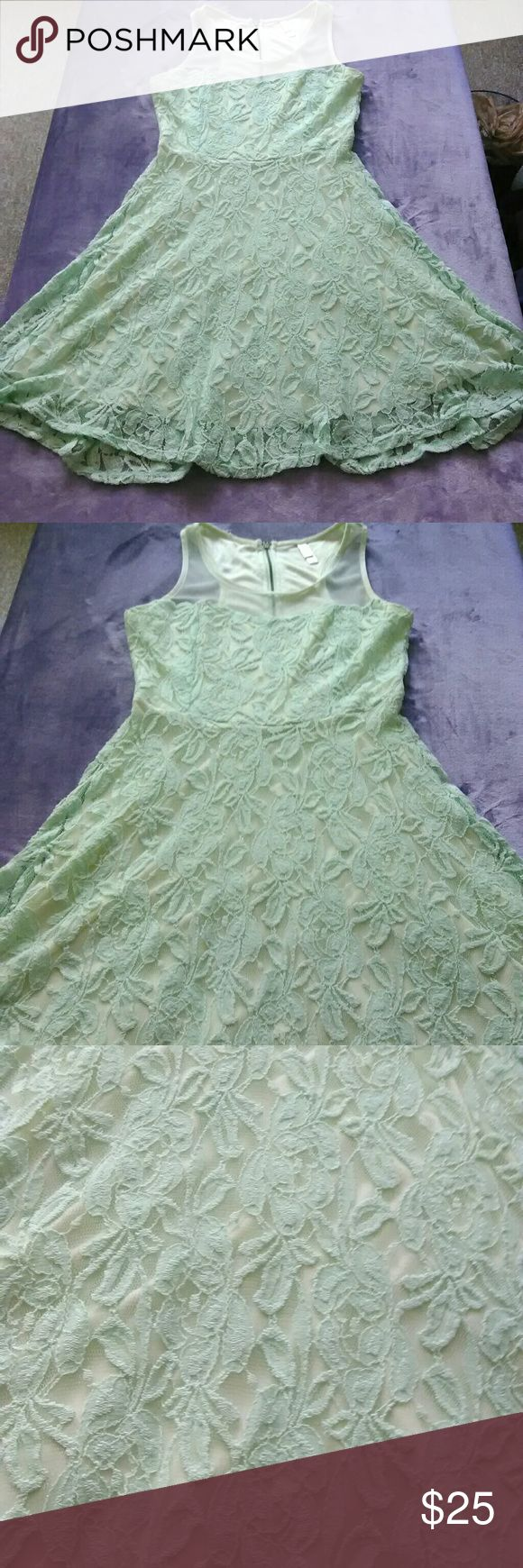 Blue green classic lace dress Blue greenish lace dress with zipper and slip Dresses Wedding