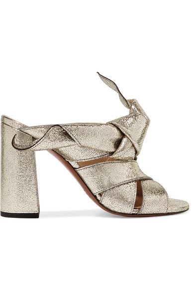 Chloé - Knotted Metallic Textured-leather Mules - Gold - IT36.5