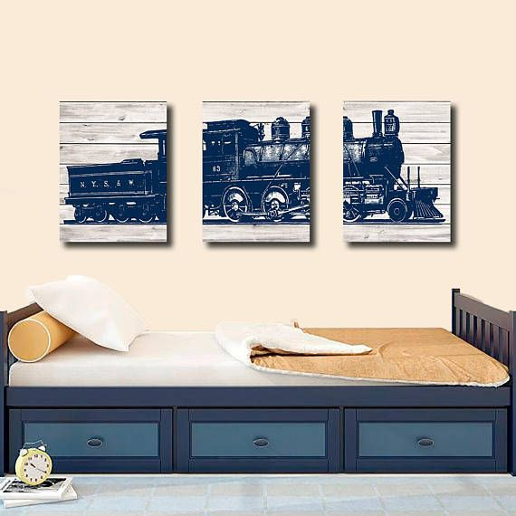 Add A Personalized Touch To Your Boys Bedroom With This Canvas Train Wall Decor Boy Art