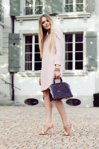 nude dress with lv bag