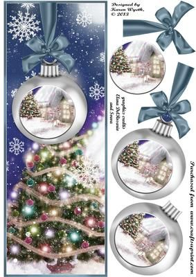 A lovely Christmas bauble scene quick card topper with additional decoupage items. xk