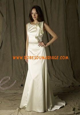 Lela Rose belle robe de mariée longue glamour col montant ornée de pli satin stretch Style The Parlor
