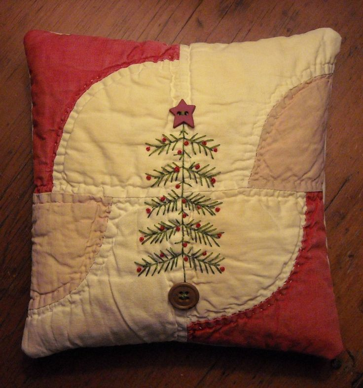 Primitive Small Folk Art Fabric Art Christmas Tree Pillow Quilted Handstitched - Lovely idea for what to do with all those doilies from Nana & Great Nana - turn them into lovely pillows.