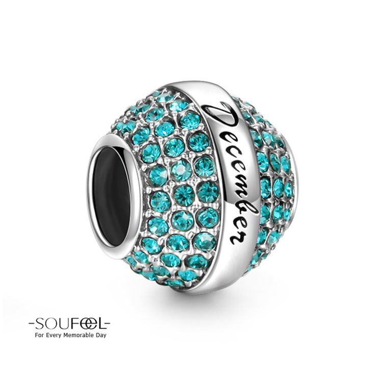 Soufeel December Birthstone Blue Swarovski Elements Charm 925 Sterling Silver Compatible All Brands Basic Bracelet. For Every Memorable Day