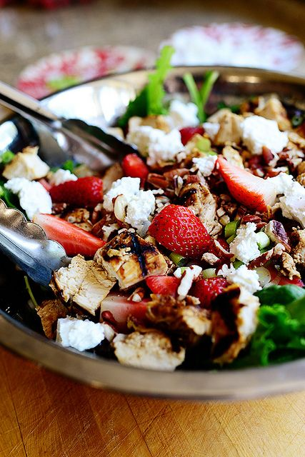 Grilled Chicken & Strawberry Salad. Eat it in a bowl or wrap it in a whole wheat tortilla.