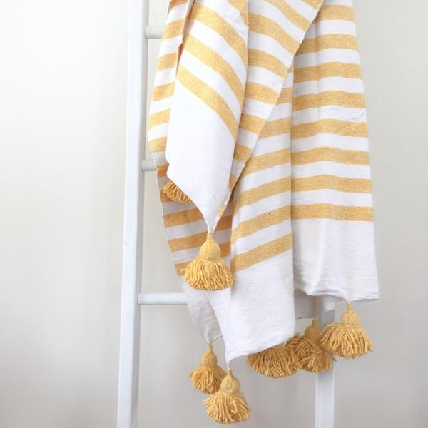 White And Yellow Moroccan Striped Pom Pom Blanket Striped Bedding White Pillows Blanket