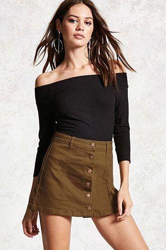 Button-Front Denim Mini Skirt