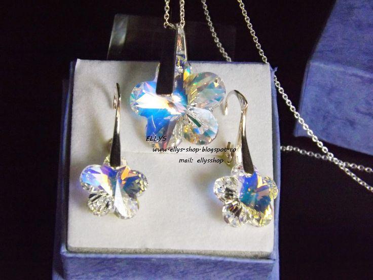 Ellys Shop: Set argint si cristale swarovski floare