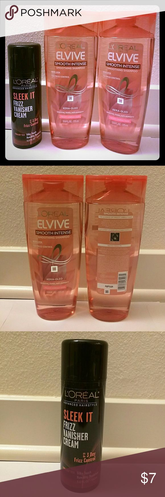 L'oreal Smooth Intense Frizz Control 2 Brand New L'oreal Elvive Smooth Intense Shampoo 12.6 FL OZ/375ml 1 Brand New L'oreal Sleek It Frizz Vanisher Cream 5 FL. OZ/150ml L'Oreal Other