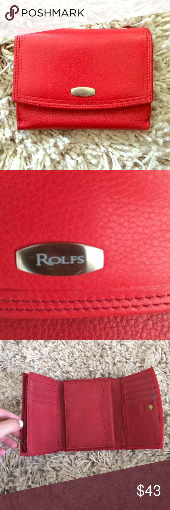 Vintage red Rolfs wallet Good condition. A little wear inside. Red Rolfs wallet. Has a lot of pockets, card slots, change pocket in back and inside. Really nice! Rolfs Bags Wallets