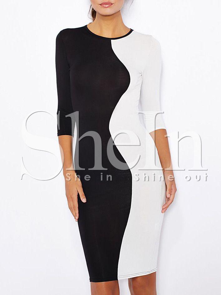 robe+manche+mi-longue+-Noir+blanc++12.97