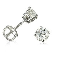 14K White Gold Round Screw-Back Diamond Stud Earrings