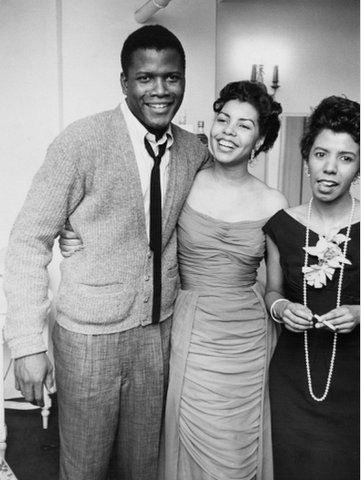 """Sidney Poitier with his first wife, Juanita Hardy, and playwright Lorraine Hansberry at the opening of """"A Raisin in the Sun"""" in New York City in 1959. Photo: Moneta Sleet for Ebony magazine via Art.com."""