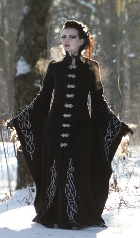 http://armstreet.com/store/medieval-clothing/long-wool-gothic-coat-blackbird  Mystic gown, overcoat