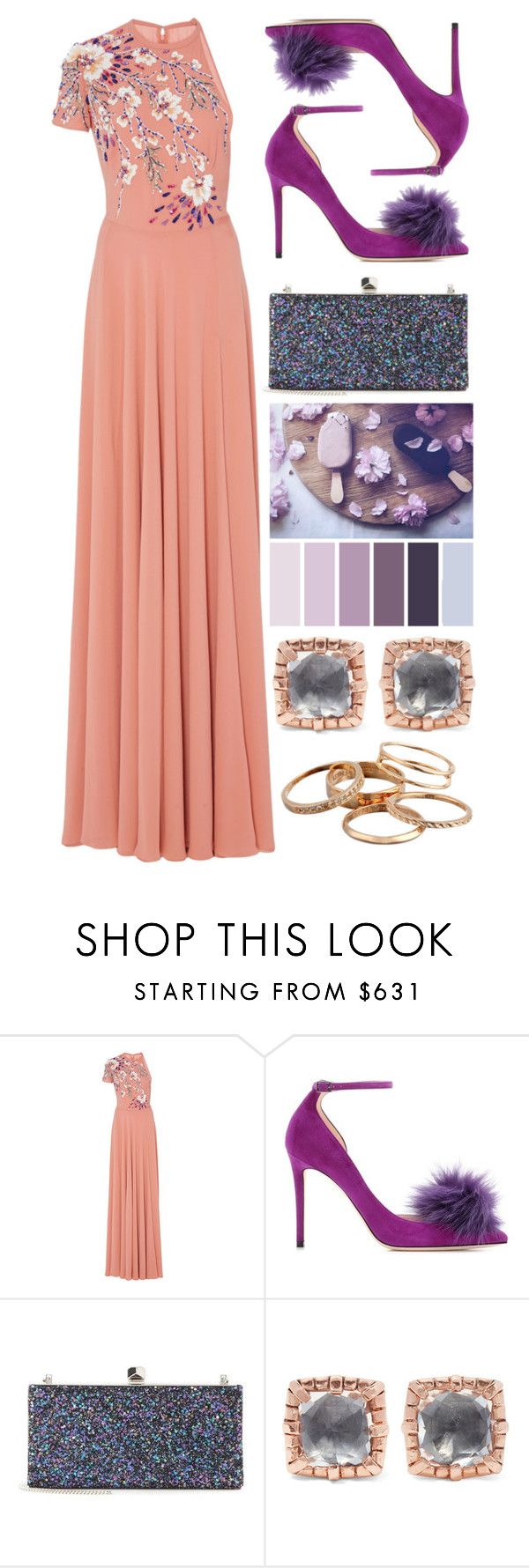 """""""Single Sleeve"""" by cherieaustin ❤ liked on Polyvore featuring Georges Hobeika, Jimmy Choo, Larkspur & Hawk and Kendra Scott"""