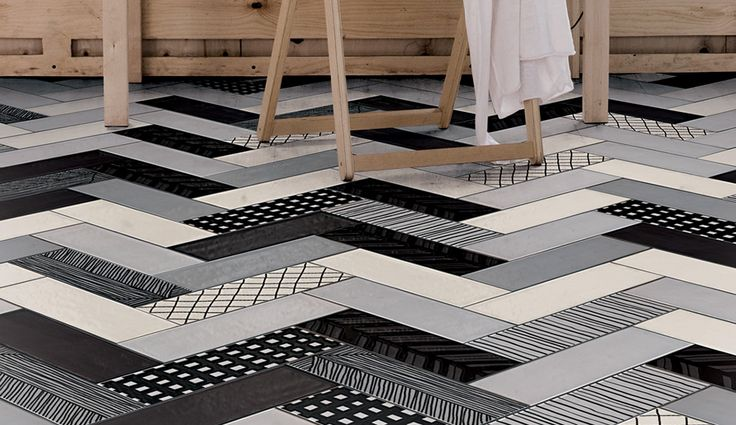 Gamma Due's Mix and Match porcelain tiles for Ornamenta come in four bold or neutral monochromatic palettes that afford endless chevron pattern options | azuremagazine.com