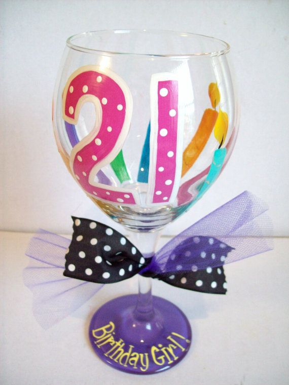 21st birthday wine glass by flybuttercreations on Etsy, $18.99