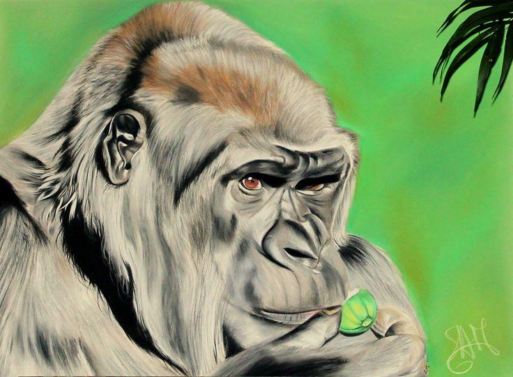 Gorille pastel dessin 65x50 cm 2015 par samos17 - Singe a dessiner ...
