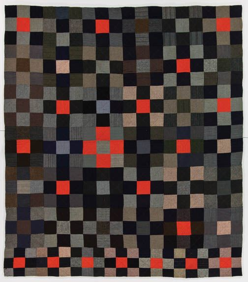 """Nine patch quilt from the Jonathan Holstein Collection -- """"Abstract Design in American Quilts"""" (Whitney Museum of American Art, 1971)"""