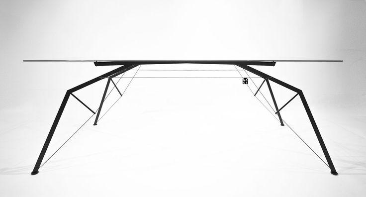 www.justnagi.com industrial design, furniture, steel, glass, dining table, applied art