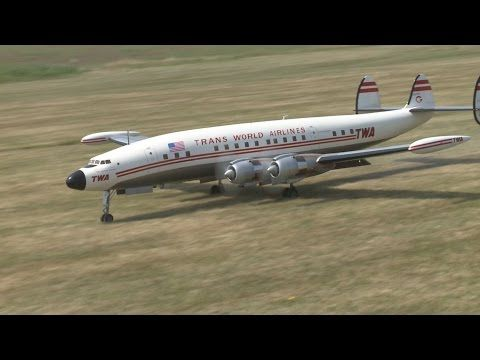 RC Super Constellation L 1049 - crash avoided during approach for landing - YouTube