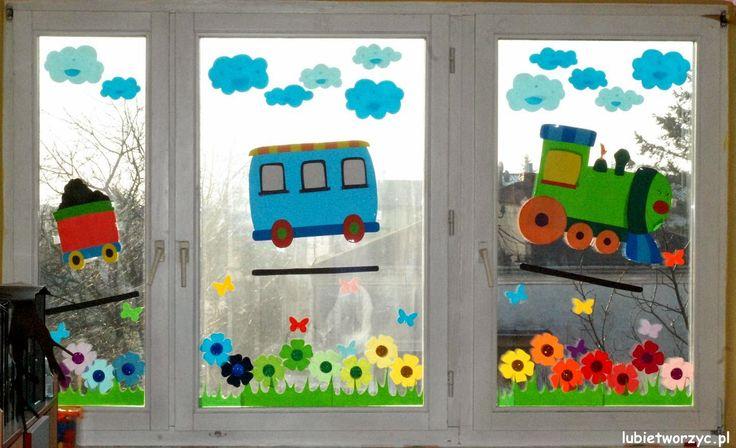 Pociąg i łąka, czyli wiosenna dekoracja okienna ;)  #pociag   #przedszkole   #wiosna   #dekoracjeokienne   #okno   #dekoracjewiosenne   #motyle   #motylki   #papierowemotyle   #kwiaty   #kwiatki   #laka   #lubietworzyc   #train   #kindergarten   #preschool   #spring   #window   #windowdecorations   #springdecorations   #butterfly   #paperbutterfly   #flower   #DIY   #meadow