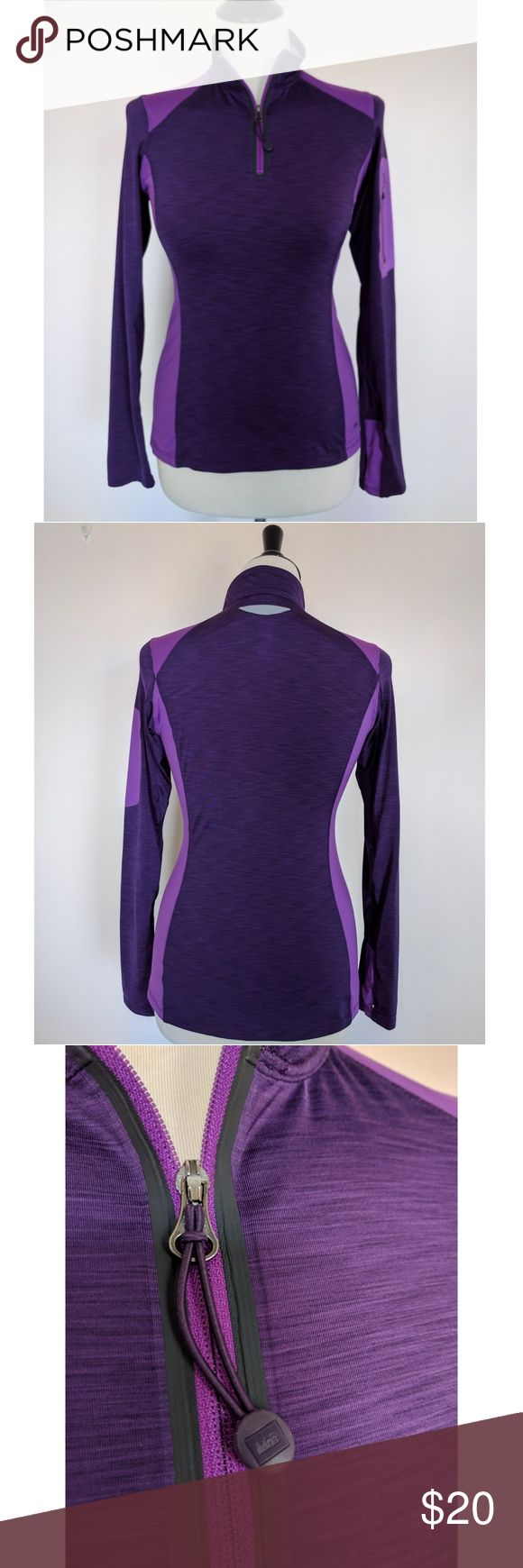 REI Quarter-Zip Tech Shirt REI Quarter-Zip Tech Shirt in Purple. Great condition! Some decal peeling on front bottom left as shown in pic 4. Thumb holes, left upper arm zipper pocket, vents on back and underarms. REI Tops