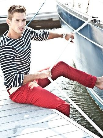 red pants with nautic stripes