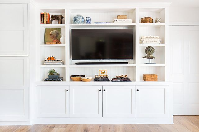 styled bookcase surrounding tv #focalpoint