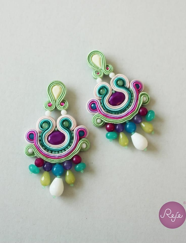 Violet, green and white soutache earrings, Reje creations 100% handmade in Italy