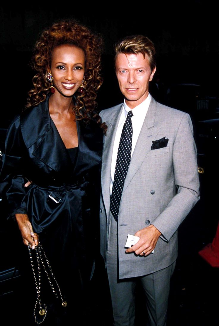 UNITED KINGDOM - CIRCA 1991:  David Bowie_iman At The 'Sunset Boulevard' Adelphi Theatre Londaon, Davidbowieretro  (Photo by Dave Benett/Getty Images) via @AOL_Lifestyle Read more: http://www.aol.com/article/2016/01/11/david-bowie-and-iman-had-a-storybook-romance-for-25-years/21295537/?a_dgi=aolshare_pinterest#slide=3765205