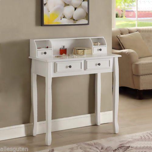 Tocador-de-Maquillaje-Mesa-Dressing-Table-4-Cajon-3-Dormitorio-Blanco-Habitacion
