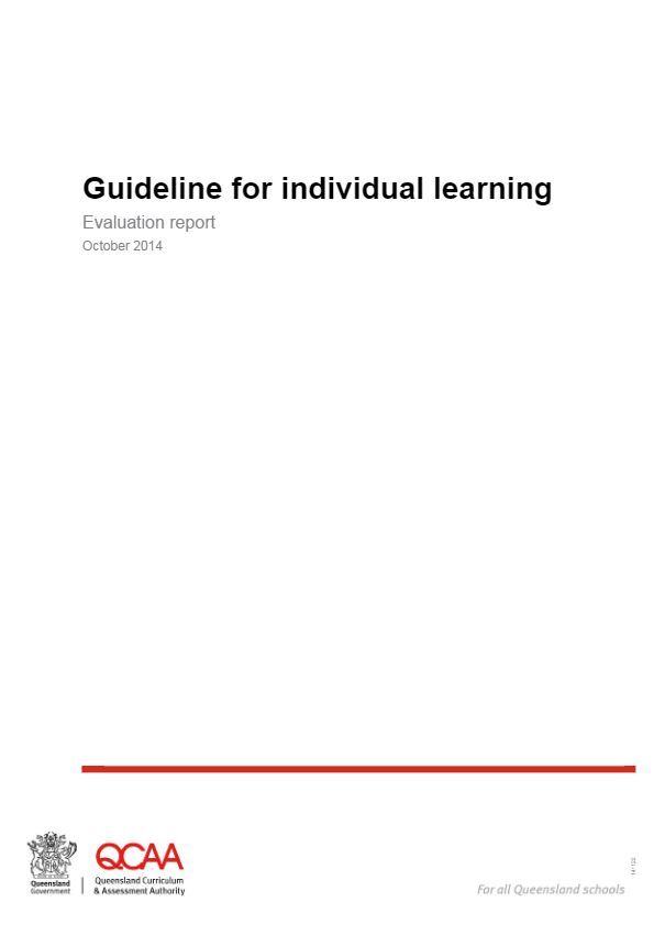 Queensland Certificate of Individual Achievement - Guideline for individual learning Evaluation report