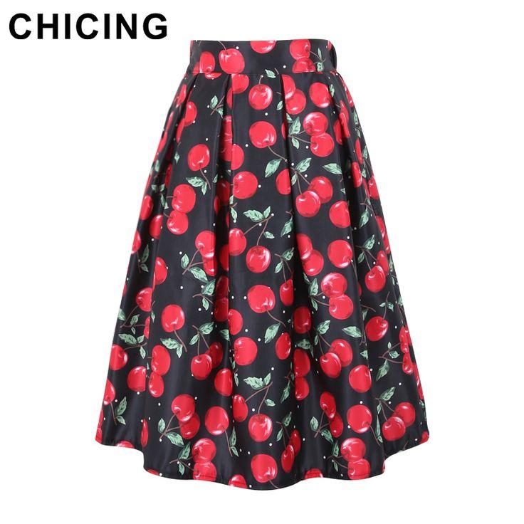 Cherry Print Pleated Midi Skater Skirt Only $19.99 => Save up to 60% and Free Shipping => Order Now! #Skirt outfits #Skirt steak #Skirt pattern #Skirt diy #skater Skirt #midi Skirt #tulle Skirt #maxi Skirt #pencil Skirt