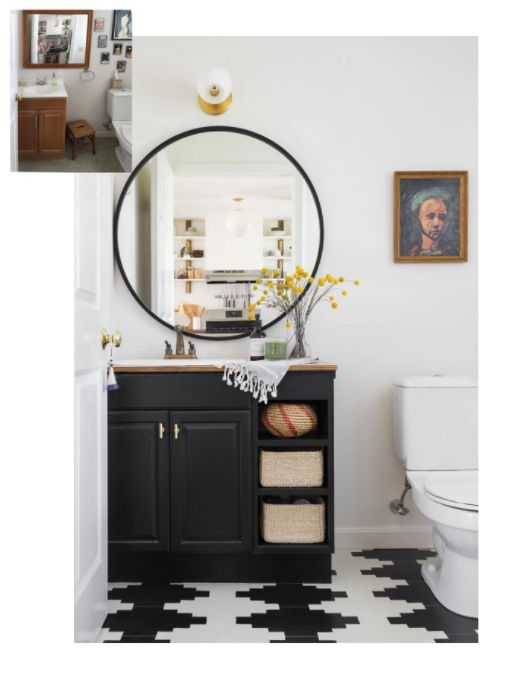 an inspiring black and white bathroom makeover