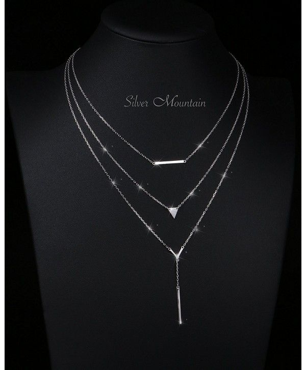 Sterling Silver Simple Multilayer Pendant Triple Chain Choker Necklace For Women Silver Cs185892kyz Chain Choker Necklace Chain Choker Womens Necklaces