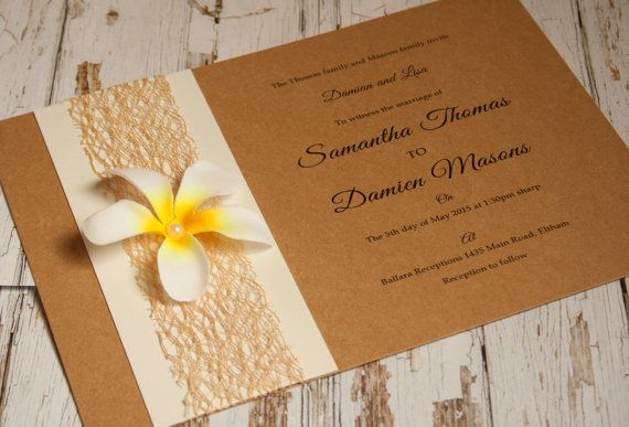 Rustic frangipani wedding invitation by InvitationDesignCo on Etsy