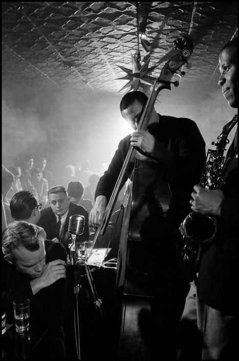 Charles Mingus and his band (pictured: Horace Parlan, Shafi Hadi/Curtis Porter, and Booker Ervin) performing live at the Five Spot Cafe, NYC, 1958 (photos by Dennis Stock)