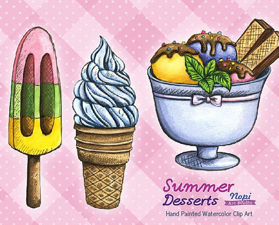 Watercolor Ice Cream Clipart Sweets Clipart Hand by NopiArtStudio