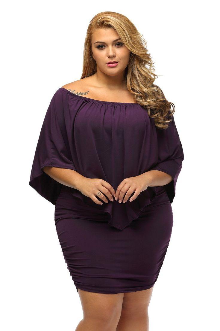 Plus Size Multiple Dressing Layered Purple Mini Dress