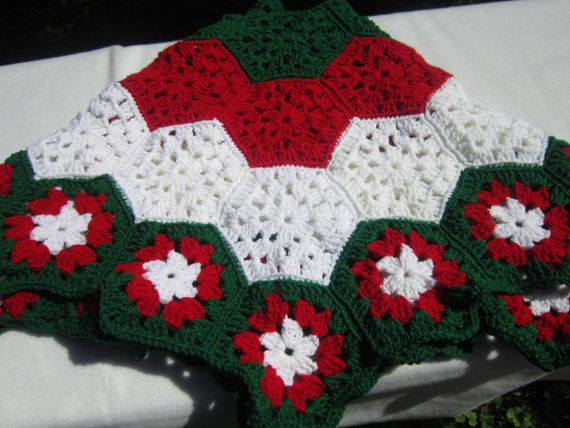 Christmas Tree Skirt in Red White and Green by crochetedbycharlene, $60.00