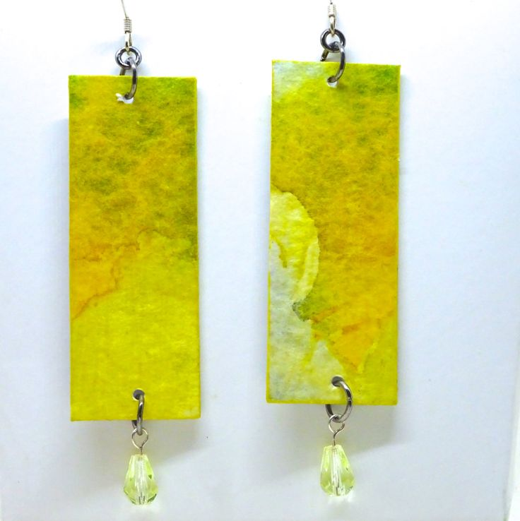 Watercolor Earrings, Paint on Paper, First Anniversary Gift, Paper Earrings, Sterling Silver Ear Wires by bluegatorjewelry on Etsy