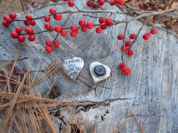 My Heart Will Guide You Home Pocket Compass by jimclift on Etsy