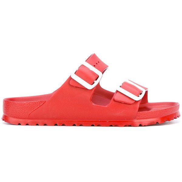 Birkenstock buckle slider sandals ($38) ❤ liked on Polyvore featuring shoes, sandals, red, birkenstock shoes, rubber footwear, red shoes, buckle shoes and birkenstock