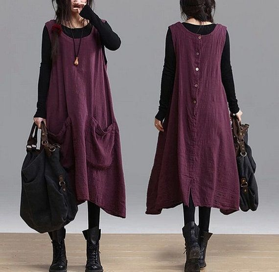 blue wine red big pocket Loose Fitting Linen by clothnew88 on Etsy, $78.99
