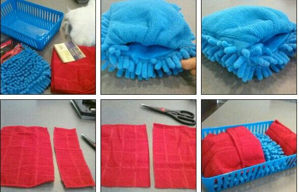 "DIY Guinea pig small pet beds $4. Dollar Tree Supplies: Drawer Organizer (2 per pack), (2) Car washing mits, Dish towels (2 per pack) +Scrap stuffing (pillows, old pet beds) Stuff and sew closed the car mits Cut, stuff and sew closed the dish towels for pillows, use excess for ""blanket"" they will love to toss around. Affordable. Washable, customizable!"